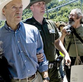 NASA climate scientist James Hansen arrested after protesting a mountain-top coal mine in West Virginia, USA.